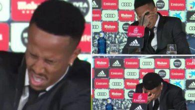 صورة لاعب ريال مدريد يغادر مؤتمر تقديمه بعد شعوره بتعب شديد