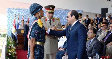 صورة الرئيس السيسي يشهد حفل تخريج الدفعة 157 من ضباط الصف المعلمين