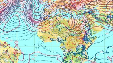 صورة شاهد بالأقمار الصناعية| الأرصاد الجوية تعلن خريطة سقوط الأمطار الغزيرة والرعدية
