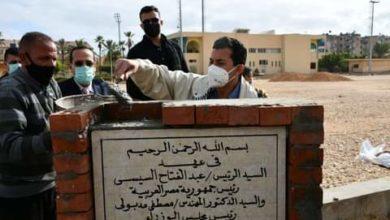 صورة وزير الرياضة يضع حجر أساس الملاعب الفرعية بإستاد العريش